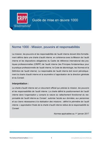 GM 1000 - Mission, pouvoirs et responsabilités  page 1