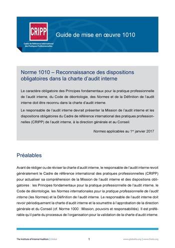 GM 1010 - Reconnaissance des dispositions obligatoires dans la charte d'audit interne page 1
