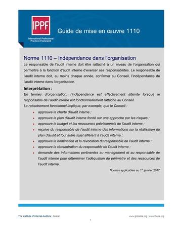 GM 1110 - Indépendance dans l'organisation page 1
