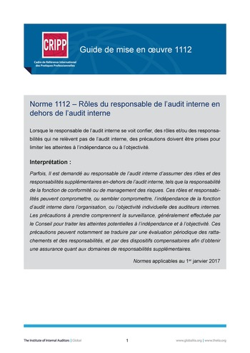 GM 1112 - Rôles du responsable de l'audit interne au-delà de l'audit interne page 1
