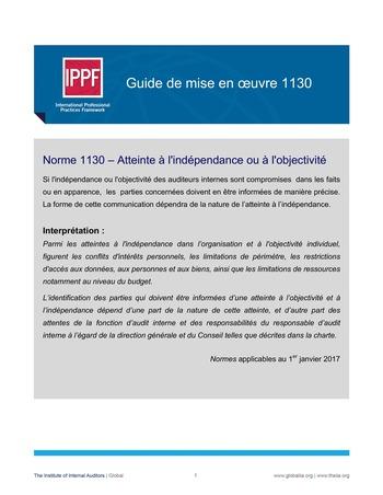 GM 1130 - Atteinte à l'indépendance ou à l'objectivité page 1