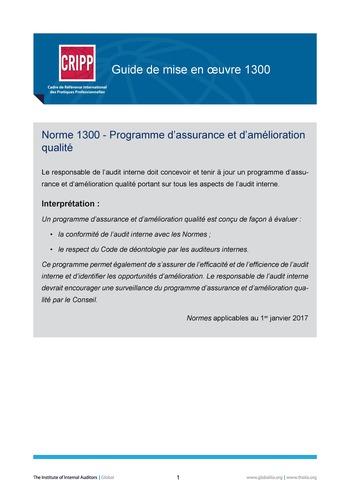 GM 1300 - Programme d'assurance et d'amélioration de la qualité page 1