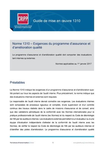 GM 1310 - Exigences du programme d'assurance et d'amélioration qualité page 1