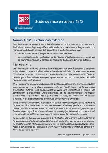 GM 1312 - Évaluations externes page 1