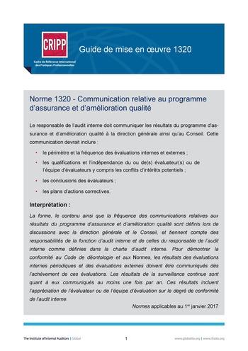 GM 1320 - Communication relative au programme d'assurance et d'amélioration qualité page 1
