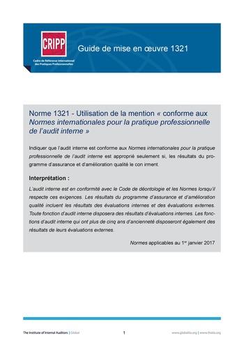 GM 1321 - Utilisation de la mention « conforme aux Normes internationales pour la pratique professionnelle de l'audit interne » page 1