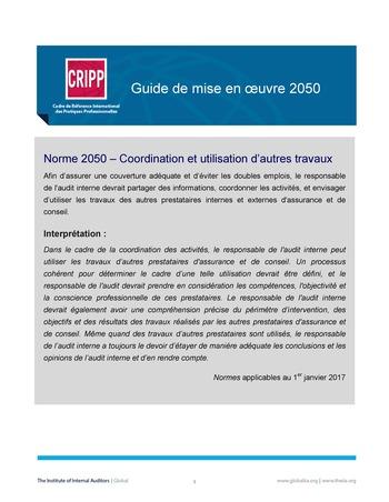 GM 2050 - Coordination et utilisation d'autres travaux page 1