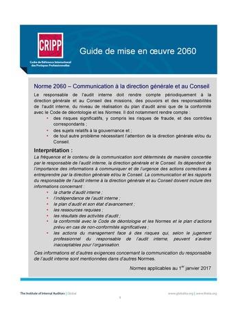 GM 2060 - Rapports à la direction générale et au Conseil page 1