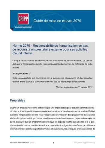 GM 2070 - Responsabilité de l'organisation en cas de recours à un prestataire externe pour ses activités d'audit interne page 1