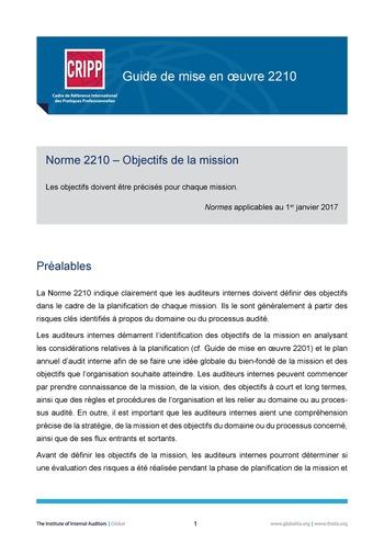GM 2210 - Objectifs de la mission page 1