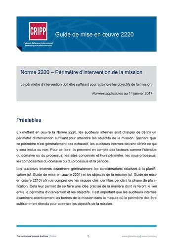 GM 2220 - Périmètre d'intervention de la mission page 1
