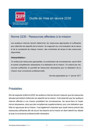 GM 2230 - Ressources affectées à la mission page 1