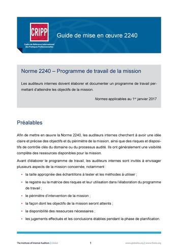 GM 2240 - Programme de travail de la mission page 1