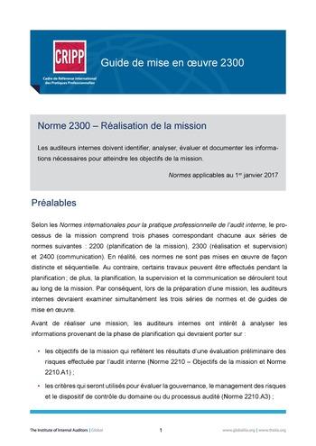 GM 2300 - Réalisation de la mission page 1