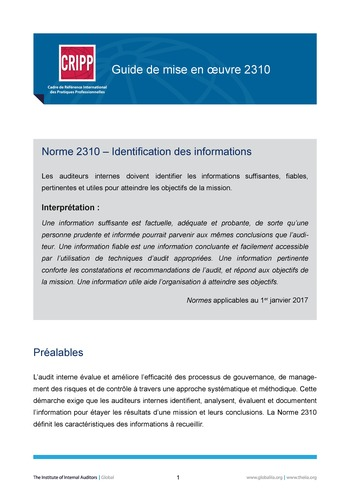 GM 2310 - Identification des informations page 1