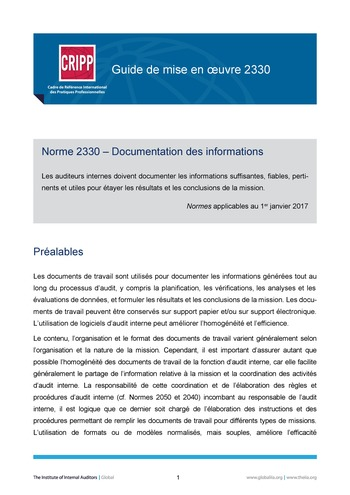 GM 2330 - Documentation des informations page 1