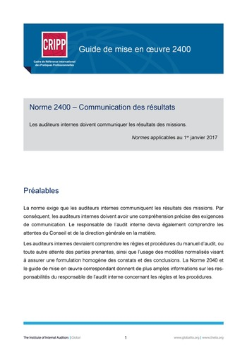 GM 2400 - Communiquer les résultats page 1
