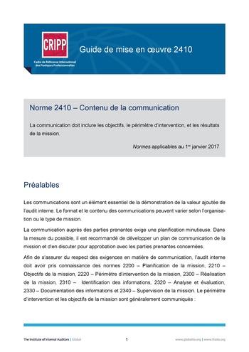 GM 2410 - Contenu de la communication page 1