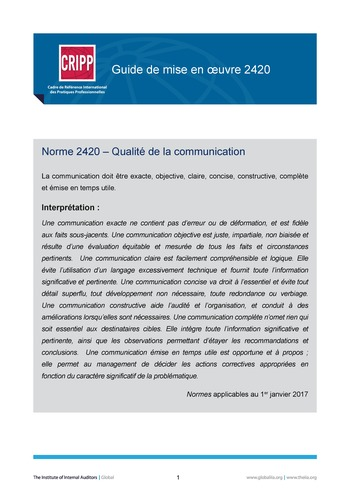 GM 2420 - Qualité de la communication  page 1