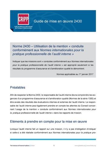 GM 2430 - Utilisation de la mention « conduit conformément aux Normes internationales pour la pratique professionnelle de l'audit interne » page 1