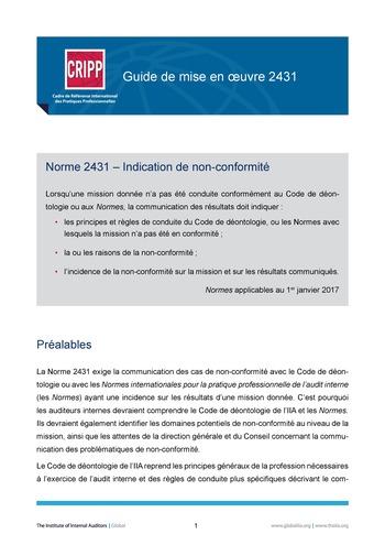 GM 2431 - Indication de non-conformité page 1