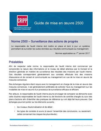 GM 2500 - Surveillance des actions de progrès page 1
