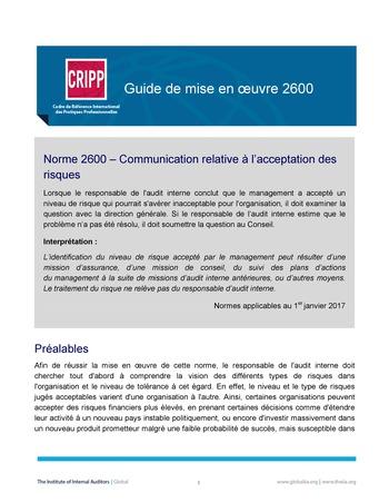 GM 2600 - Communication relative à l'acceptation des risques page 1