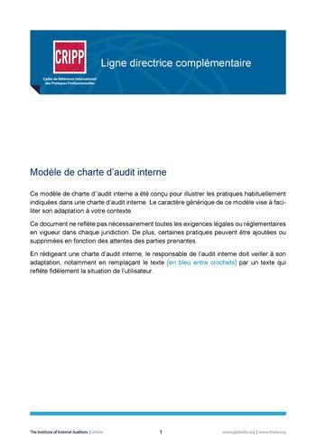 Modèle de charte d'audit interne page 1