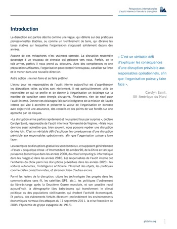 Perspectives internationales - L'audit interne à l'ère de la disruption page 3