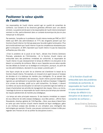 Perspectives internationales - L'audit interne à l'ère de la disruption page 5