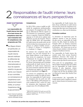 Evolution de carrière des responsables de l'audit interne page 12