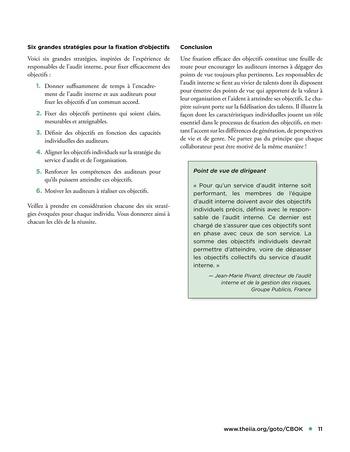 Solutions d'excellence pour motiver les auditeurs internes page 11