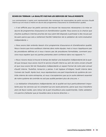 Programme d'assurance et d'amélioration qualité de l'audit interne page 13