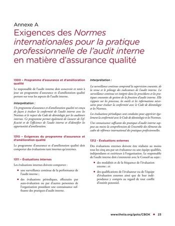 Programme d'assurance et d'amélioration qualité de l'audit interne page 23