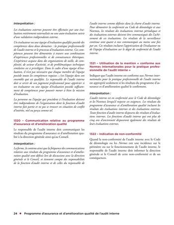 Programme d'assurance et d'amélioration qualité de l'audit interne page 24