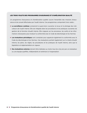 Programme d'assurance et d'amélioration qualité de l'audit interne page 6