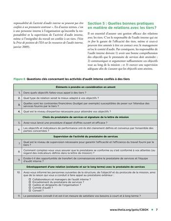 Recours aux services de tiers pour les activités d'audit interne page 7
