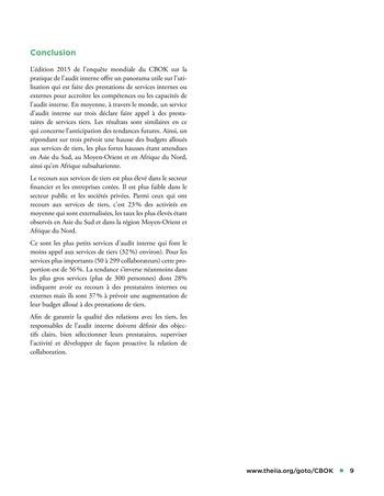 Recours aux services de tiers pour les activités d'audit interne page 9
