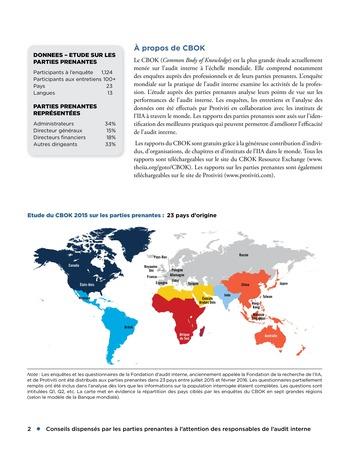 Conseils dispensés par les parties prenantes à l'attention des responsables de l'audit interne page 2