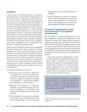 Conseils dispensés par les parties prenantes à l'attention des responsables de l'audit interne page 4