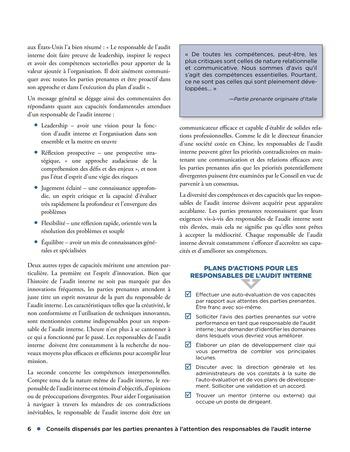 Conseils dispensés par les parties prenantes à l'attention des responsables de l'audit interne page 6
