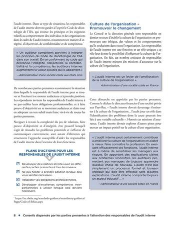Conseils dispensés par les parties prenantes à l'attention des responsables de l'audit interne page 8