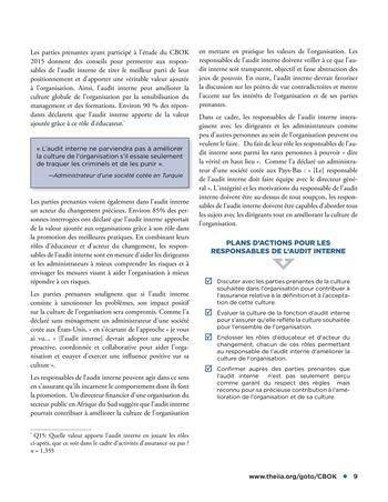 Conseils dispensés par les parties prenantes à l'attention des responsables de l'audit interne page 9