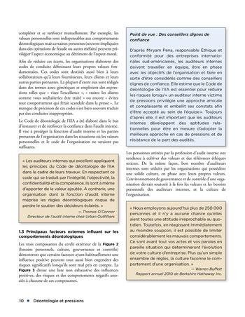 Déontologie et pressions page 10