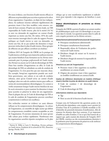 Déontologie et pressions page 6