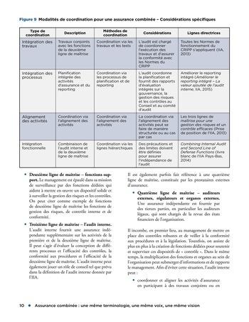 Assurance combinée: une même terminologie, une même voix, une même vision page 10