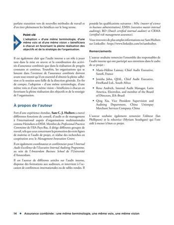 Assurance combinée: une même terminologie, une même voix, une même vision page 14