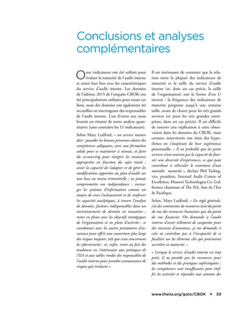 Etude comparative de la maturité de l'audit interne page 39