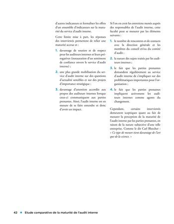 Etude comparative de la maturité de l'audit interne page 42