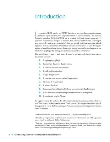 Etude comparative de la maturité de l'audit interne page 6